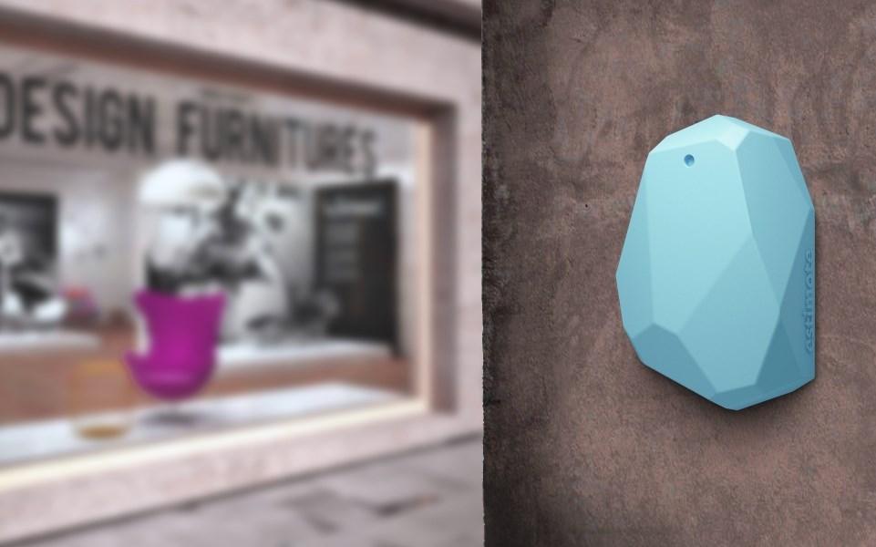 estimote beacon on wall in retail environment