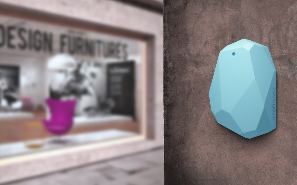 estimote beacon on wall in retail environment