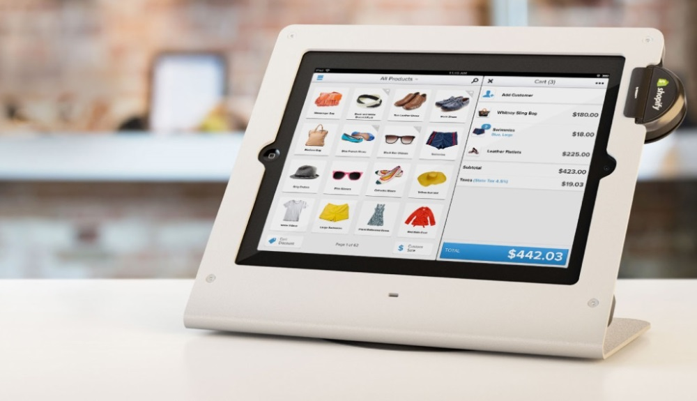tablet with shopify payment device in retail store